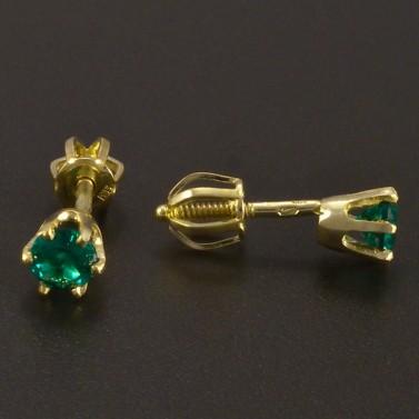 Zlaté náušnice smaragd pecky na šroubek č.2