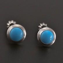 Stříbrné náušnice s modrým tyrkysem