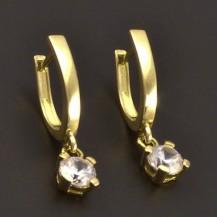Zlaté zirkonové náušnice lesklé
