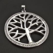 Stříbrný přívěs strom se zirkony
