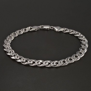 Stříbrný náramek rhodiovaný dvojpancr č.1