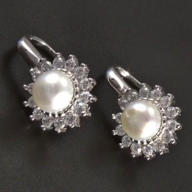 Stříbrné náušnice perla se zirkony č.1