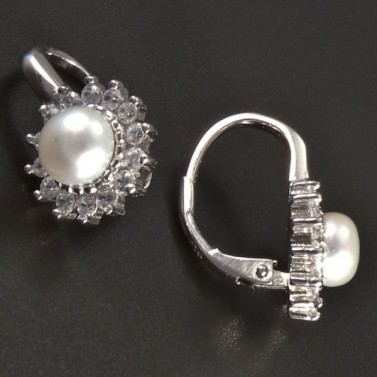 Stříbrné náušnice perla se zirkony č.2