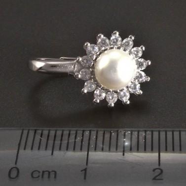 Stříbrné náušnice perla se zirkony č.3