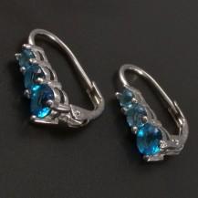 Stříbrné náušnice s modrými zirkony