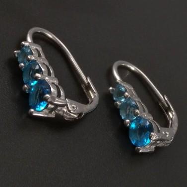 Stříbrné náušnice s modrými zirkony č.1