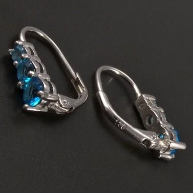 Stříbrné náušnice s modrými zirkony č.2