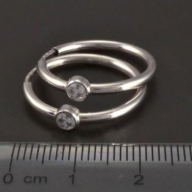 Náušnice kruhy z bílého zlata se zirkony č.2
