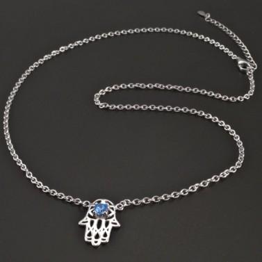 Stříbrný náhrdelník s rukou Fatimy č.1