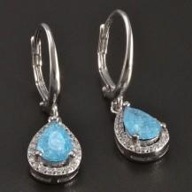 Stříbrné náušnice třpytivý modrý zirkon