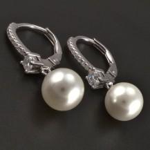 Stříbrné náušnice kultivovaná perla se zirkony
