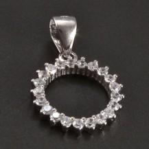 Stříbrný přívěsek kolečko se zirkony