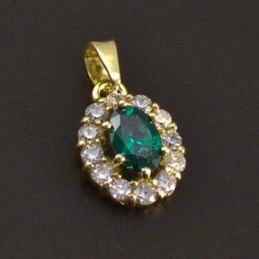 Zlatý přívěs se smaragdem a zirkony č.1