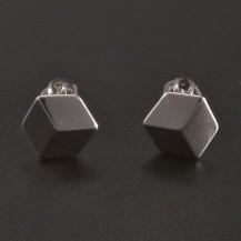 Stříbrné náušnice 3D efekt