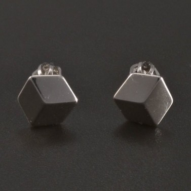 Stříbrné náušnice 3D efekt č.1