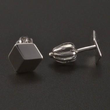 Stříbrné náušnice 3D efekt č.2