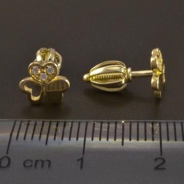 Zlaté náušnice trojlístky na šroubek č.3