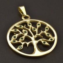 Zlatý přívěsek kulatý strom života