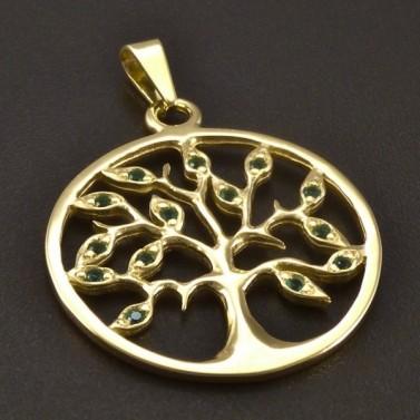 Zlatý přívěsek kulatý strom života č.1
