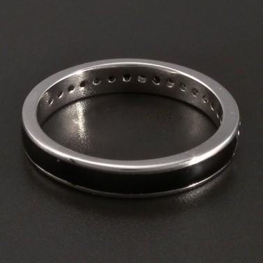 Stříbrný prsten černý smalt se zirkony č.2