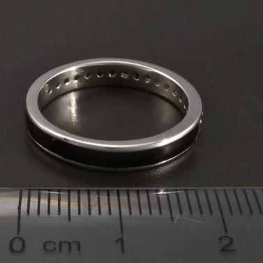 Stříbrný prsten černý smalt se zirkony č.3