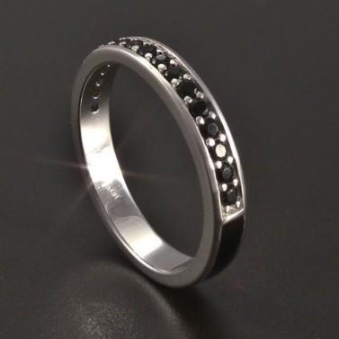 Stříbrný prsten černý smalt se zirkony č.4