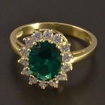 Zlatý prsten velký smaragd se zirkony