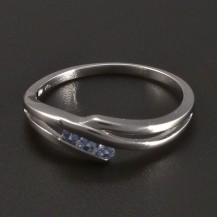 Prsten světlemodrý bílé zlato
