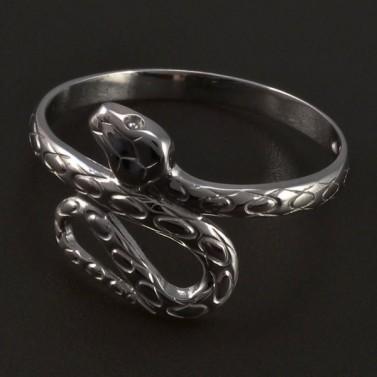 Stříbrný prsten had č.1