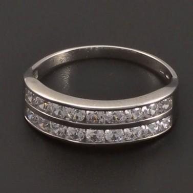 Stříbrný dvojřadý prsten č.1