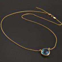 Zlatý náhrdelník přírodní modrý Topaz