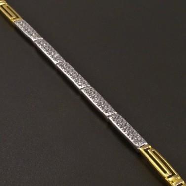 Zlatý prořezávaný náramek se zirkony č.2