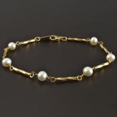 Zlatý náramek s perličkami č.1