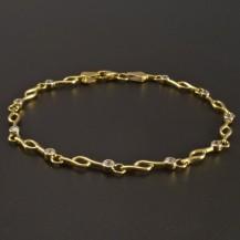 Zlatý náramek se zirkony průměr 2 mm