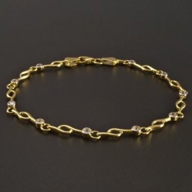 Zlatý náramek se zirkony průměr 2 mm č.1