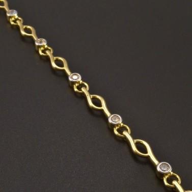 Zlatý náramek se zirkony průměr 2 mm č.2
