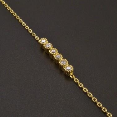 Zlatý náramek ankr 6 zirkonů č.2
