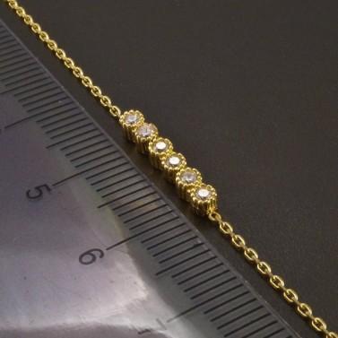 Zlatý náramek ankr 6 zirkonů č.3