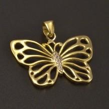Zlatý přívěsek motýla se zirkony