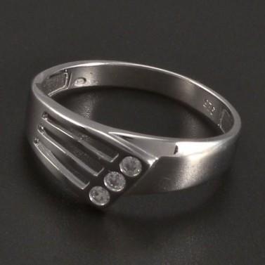 Stříbrný prořezávaný prsten 3 zirkony č.1