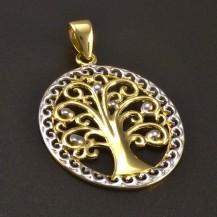 Zlatý přívěs strom života oválný