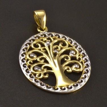 Zlatý přívěs strom života oválný č.1