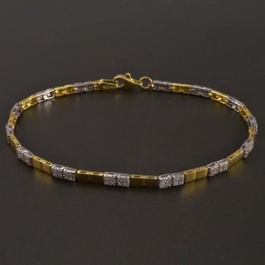 Zlatý náramek žlutobílý se zirkony č.1