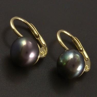 Zlaté náušnice černá kultivovaná perla č.1