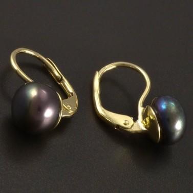 Zlaté náušnice černá kultivovaná perla č.2