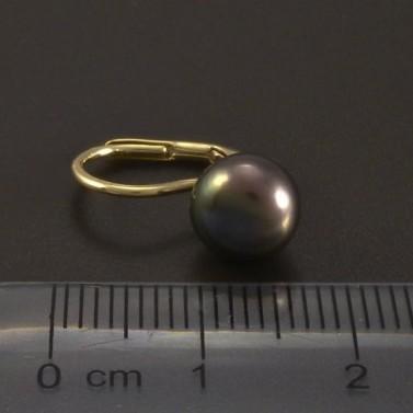 Zlaté náušnice černá kultivovaná perla č.3
