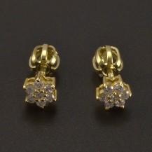 Zlaté briliantové náušnice kytičky