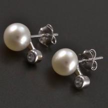 Stříbrné náušnice pecky s perlou