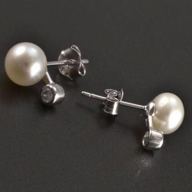 Stříbrné náušnice pecky s perlou č.2