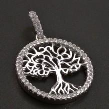 Stříbrný přívěs strom života kulatý